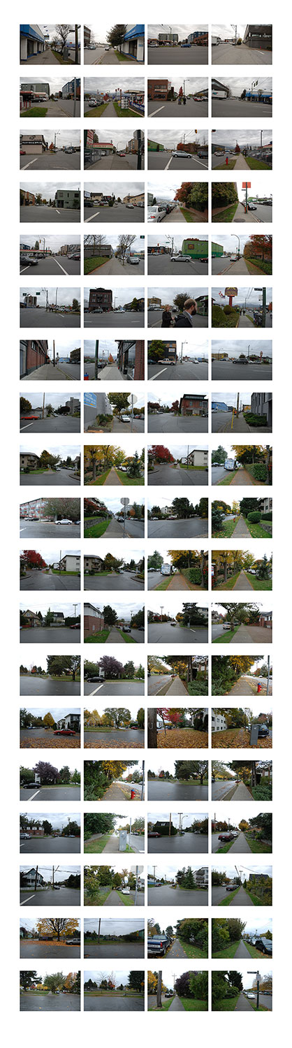 Chance: Vancouver, Canada, 2007, color digital print, 24 x 86, showing 1 of 33<br><br>Chance puts me at the center of psychogeography as I perambulate through cities directed by viewers' die rolls.