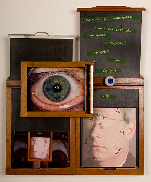 Contained, Eye Am, 1993, C-Prints, antique film holders, text tape, found objects, 12 x 17, showing 1 of 15