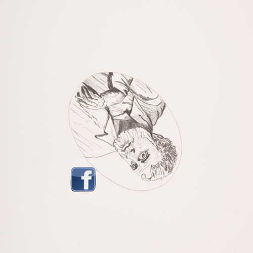 Face Book (Hemmingway), 2015, graphite on smooth paper with color digital print, 14 x 17, showing 1 of 100<br><br>A component to my exhibition Face Book: A Social Experience, I consider the decline of bookstores and consequences of digitizing books. A random search of the Internet for the 100 must read books for men took me to artofmanliness.com.