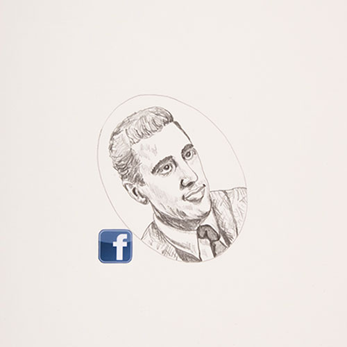 Face Book (Salinger), 2015, graphite on smooth paper with color digital print, 14 x 17, showing 1 of 100<br><br>A component to my exhibition Face Book: A Social Experience, I consider the decline of bookstores and consequences of digitizing books. A random search of the Internet for the 100 must read books for men took me to artofmanliness.com.