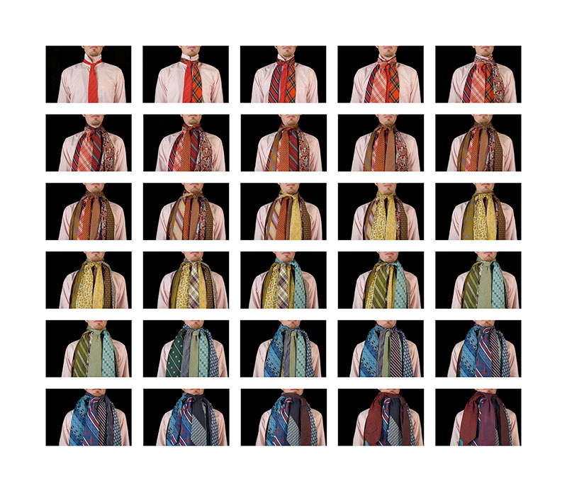 Formalism, 2008, color digital print, 44 x 49.5<br><br>I tie 30 neckties around my neck according to the formal structure of ROY G BIV.
