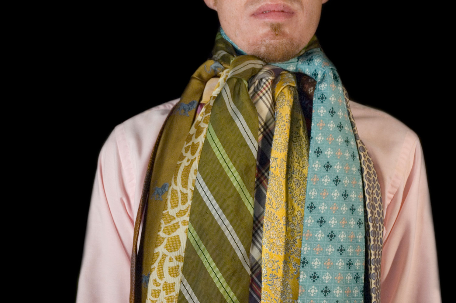 Formalism, 2006, color digital print, 20 x 16, showing 1 of 32<br><br>I tie 30 neckties around my neck according to the formal structure of ROY G BIV.