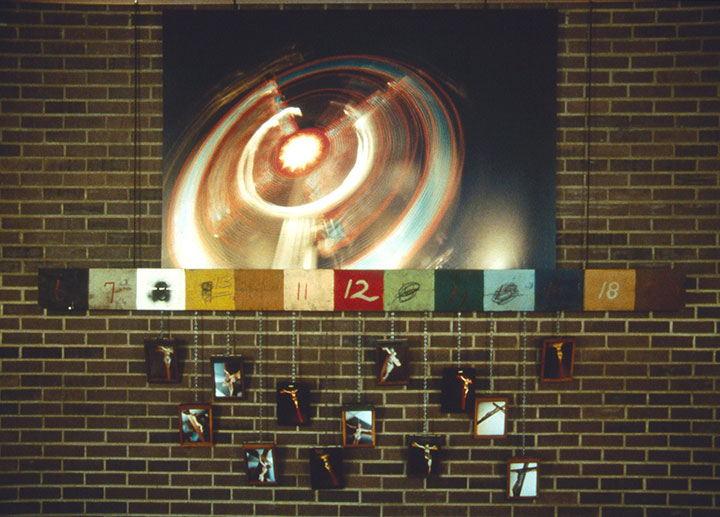 How to Support a Religious Organization, 1998, installation view, C-Prints, antique film holders, found objects, 120 x 96