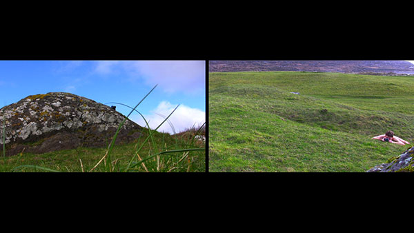 Hunting the Wren, 2012, video still, two-channel split screen<br><br>Go to menu, click VIDEOS, to watch excerpts<br><br>Based upon the antient Irish custom of hunting the wren during the winter solstice, I endeavor to find a wren across the terrain in Ireland.