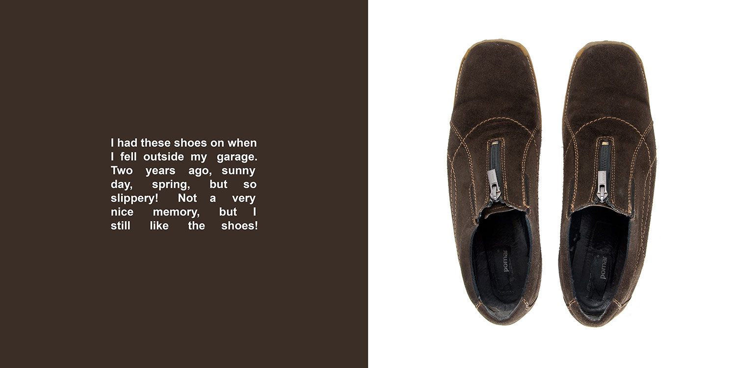 In My Shoes: Turku, Finland, 2009, color digital print, 32 x 16, showing 1 of 9<br><br>In My Shoes puts me at the center of an existential dilemma of wearing community members' shoes associated with a memorable moment.