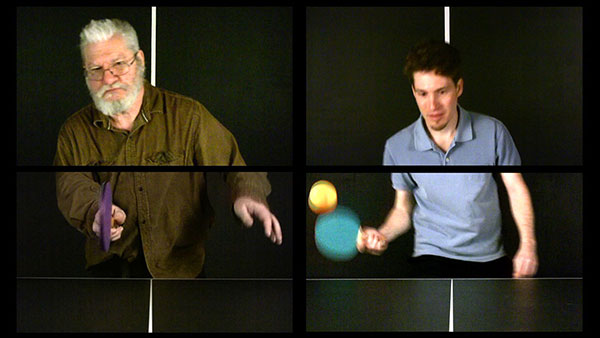 In Play (Dan Graham), 2009, video stills, two two-channel split screen, showing 1 of 18<br><br>Go to menu, click VIDEOS, to watch excerpts<br><br>In Play is a project I began in 2007 of ping-pong recorded with video and photography, with artists and writers of influence or like-mindedness, to highlight the interconnectivity of history, artists, writers, and ideas. To date, the project includes: Vito Acconci (2007), Vicki Goldberg (2007), Erwin Wurm (2007), Peter Garfield (2007), Martha Buskirk (2007), Gary Metz (2008), Terry Barrett (2007), Cal Kowal (2008), William Anastasi (2008), Patty Chang (2009), Dennis Oppenheim (2009), Dan Graham (2009), Michael Snow (2009), Marcy B Freedman (2010), Kate Gilmore (2010), Thomas Zummer (2011), Navjotika Kumar (2012), Olaf Breuning (2015), and Arno Rafael Minkkinen (2015)