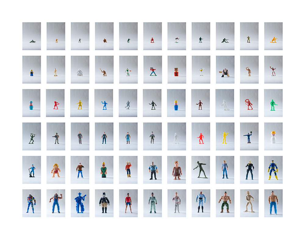 Man in Relation to Men, 2008, color digital print, 55.5 x 44<br><br>Man in Relation to Men looks at masculinity using an array of male action figures from diverse eras.