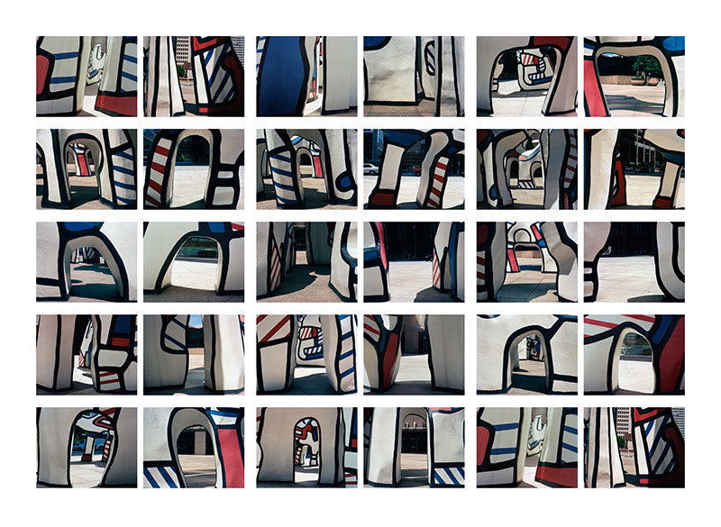 Massaging the Modernist Myth, 2004, color digital print, 73 x 44<br><br>I explore Jean Dubuffet's public sculpture, Monument to the Phantom in Houston, TX with video and photography.