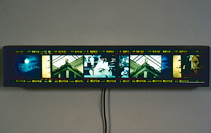 Retinal Stain, Voyeur, 1996, color transparencies, wood light box, 38 x 8 x 7.5, showing 1 of 6
