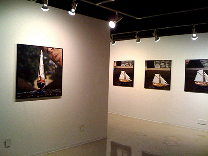 The World Isn't Always Round, 2010, installation view of color digital prints, 36 x 36, showing 4 of 6