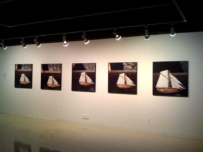 The World Isn't Always Round, 2010, installation view of color digital prints, 36 x 36, showing 5 of 6